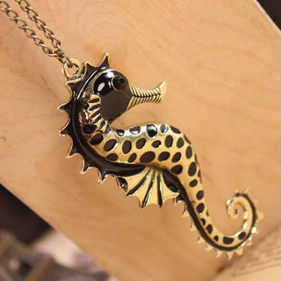 Jewelry - NEW seahorse Necklace Bronze Gold on long Chain